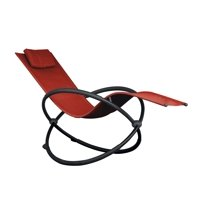 """60"""" Red Outdoor Aluminum Orbital Lounge Chair with a Pillow"""