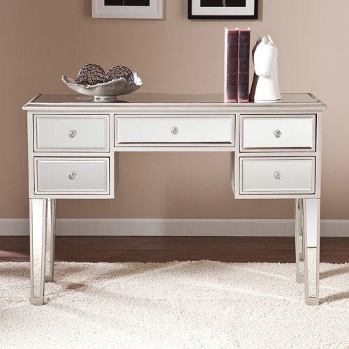 Southern Enterprises Illusions Collection Mirrored Entryway Console, Mirrored w/ Silver
