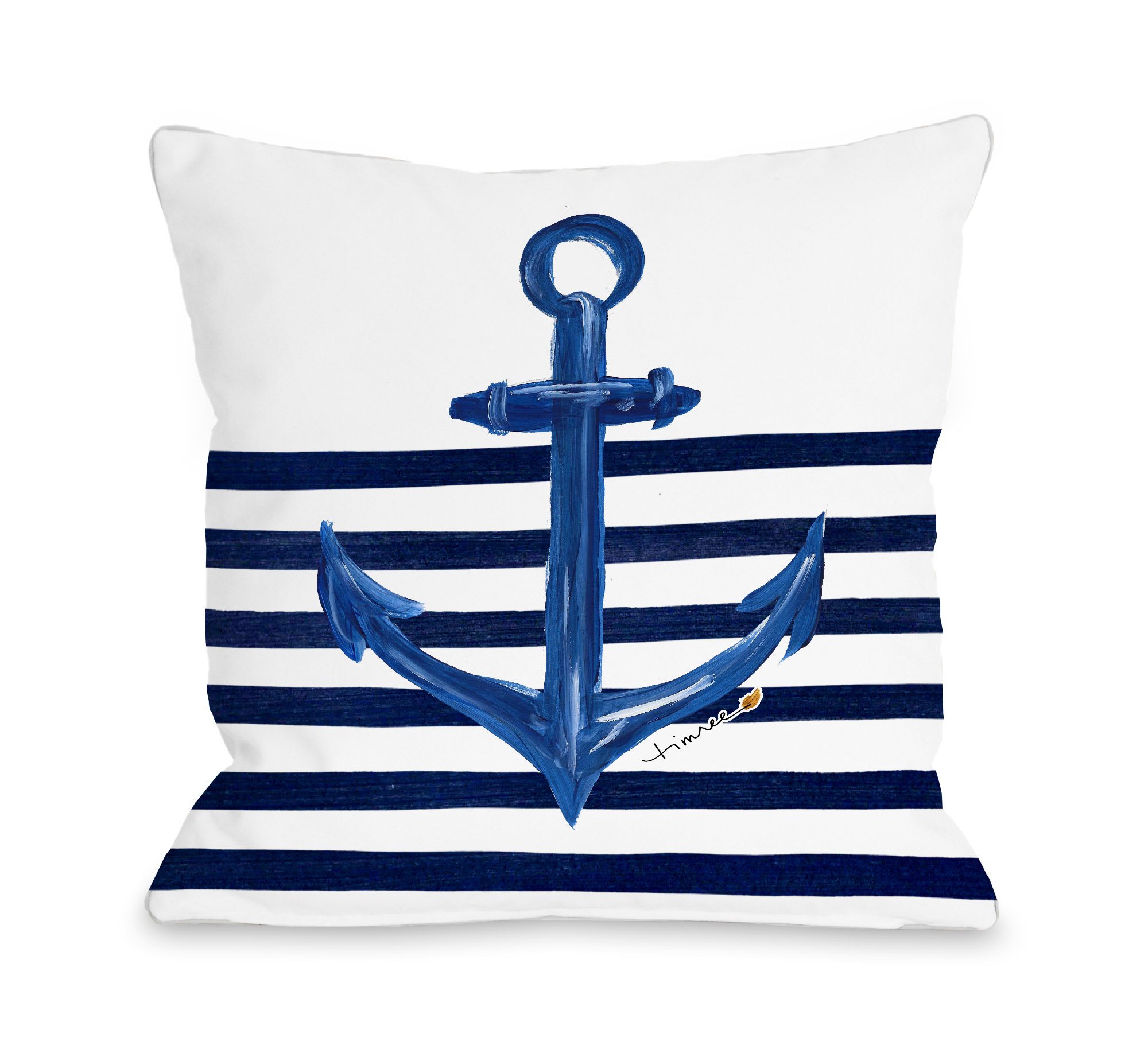 Anchor Half Stripe - White Gold 18x18 Pillow by Timree