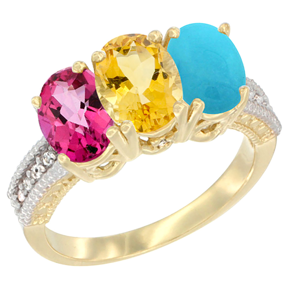 10K Yellow Gold Diamond Natural Pink Topaz, Citrine & Turquoise Ring 3-Stone Oval 7x5 mm, sizes 5 10 by WorldJewels