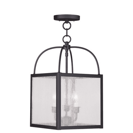 Pendants Porch 3 Light With Clear Seeded Glass Bronze size 10 in 180 Watts - World of Crystal
