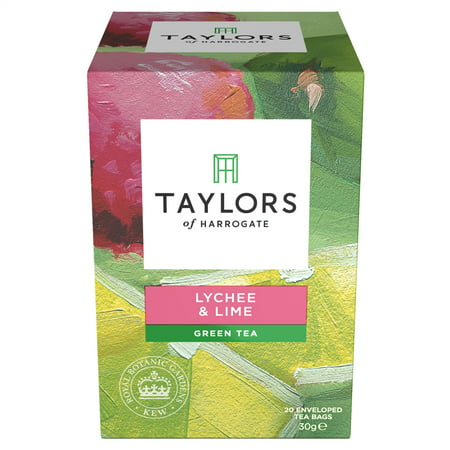 Taylors of Harrogate, Lychee & Lime Green Tea, Tea Bags, 20 Ct
