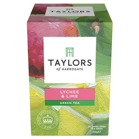 Taylors of Harrogate, Lychee & Lime Green Tea, Tea Bags, 20 Ct (Dry Lime Tea)