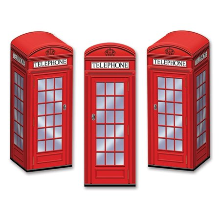 Club Pack of 36 Decorative Red 3-Dimensional Phone Booth Party Favor Boxes