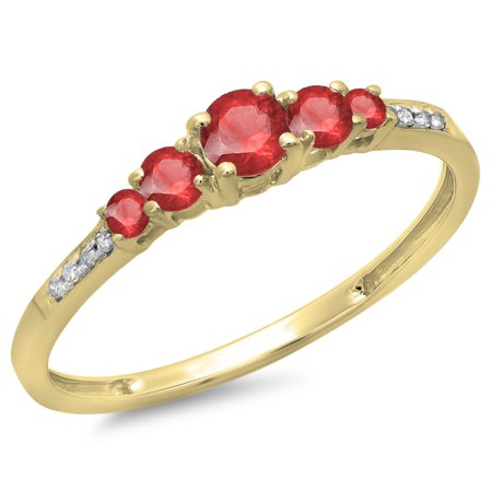 Dazzlingrock Collection 14K Round Cut Ruby & White Diamond Ladies Bridal 5 Stone Engagement Ring, Yellow Gold, Size 6.5