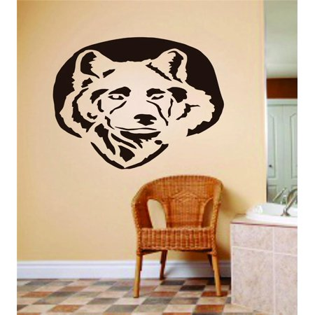 Custom Wall Decal Dog Face Picture Art Animals Peel & Stick Sticker Vinyl Wall Decal 6 X 12 Inches - Painted Dog Face For Halloween