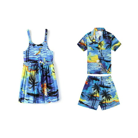 Matching Boy and Girl Siblings Hawaiian Luau Outfits in Sunset Blue Girl 4 Boy 14 - Luau Outfits