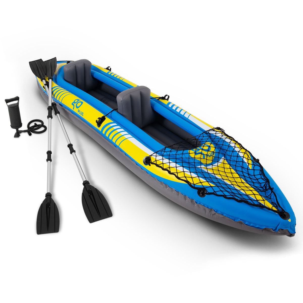 Goplus 2-Person Inflatable Canoe Boat Kayak Set W  Aluminum Alloy Oar Hand Pump by Costway