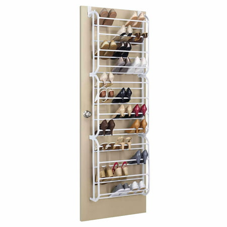 whitmor 36 pair over the door shoe rack white. Black Bedroom Furniture Sets. Home Design Ideas