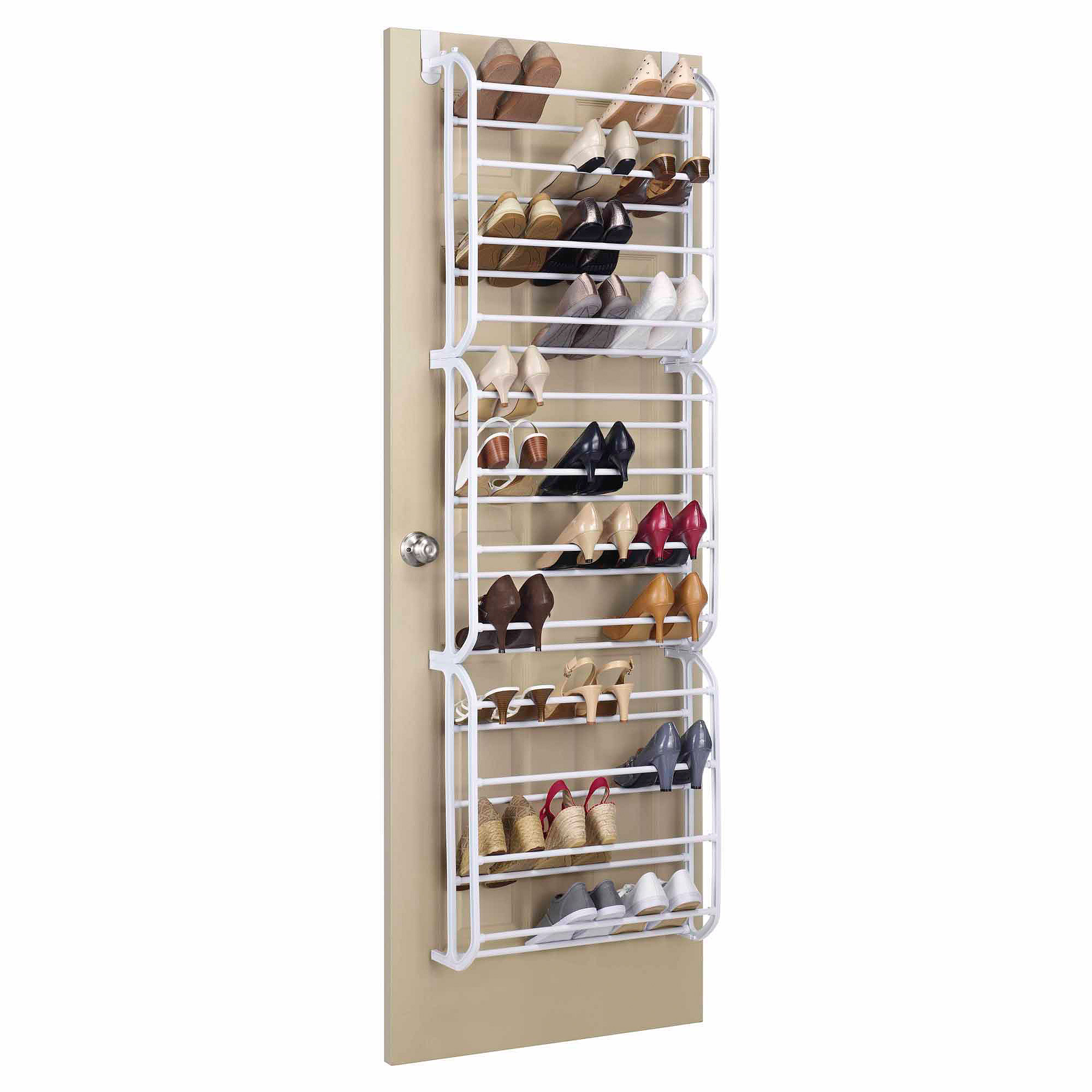 Whitmor 36-Pair Over the Door Shoe Rack White  sc 1 st  Walmart & Door Shoe Racks