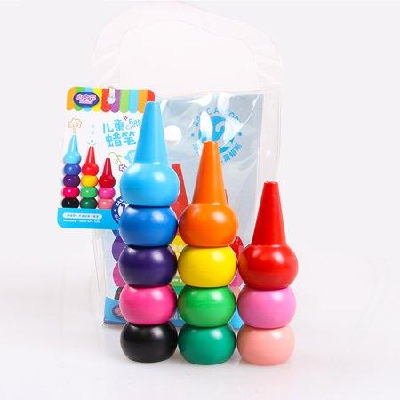 - Children Toddlers 3D-Finger Crayons 12 Colors Paint Crayons Sticks Stackable Toys Color:12 colors