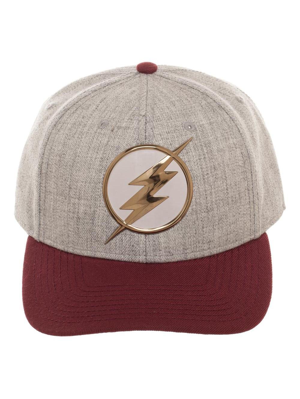 DC Comics The Flash Chrome Weld Curved Snapback Grey Baseball ... 54b9e50f669