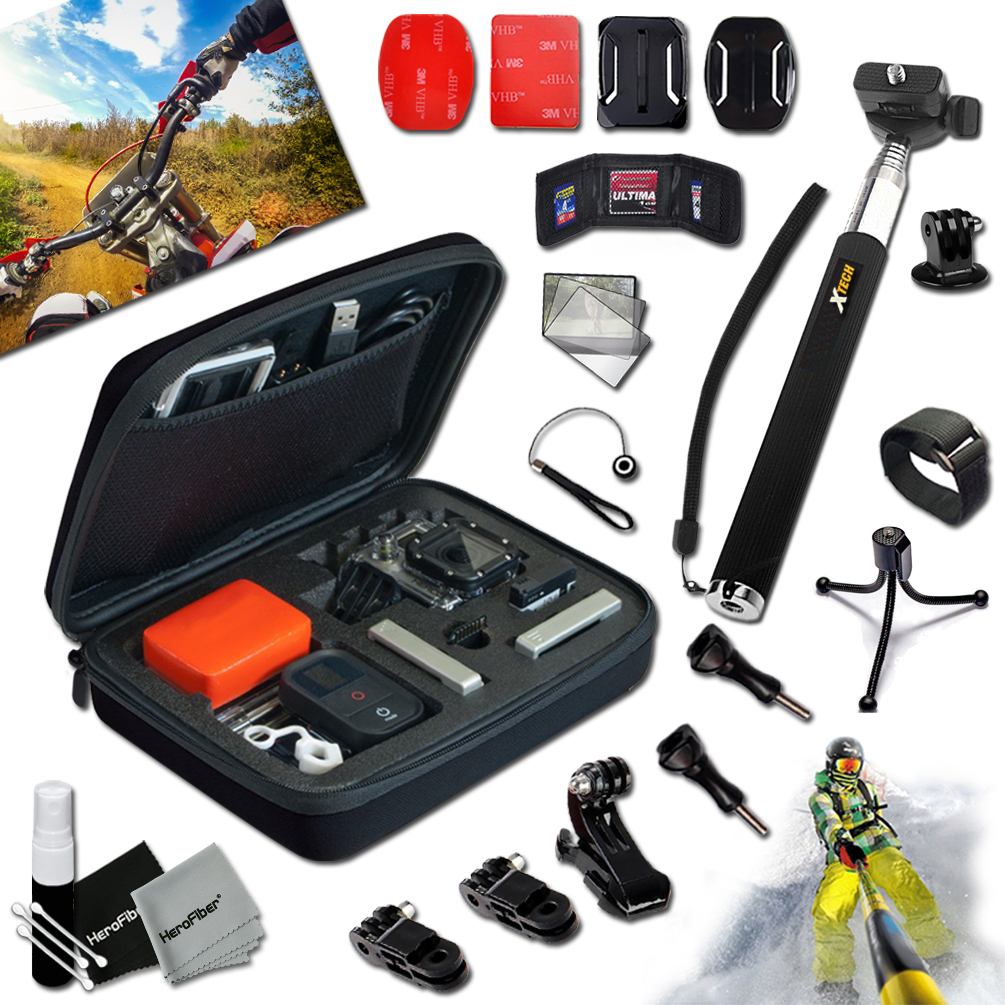 Xtech® Camera Value ACCESSORIES KIT for GoPro HERO4 Hero 4, Hero3+ Hero 3+, HERO3 Hero 3, HERO2 Hero 2, HD Motorsports HERO, Surf Hero, GoPro Hero Naked, GoPro Hero 960, GoPro Hero HD 1080p, GoPro Her