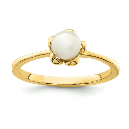 14K Yellow Gold Madi K 4-5mm White Button Freshwater Cultured Pearl Flower Ring Size 4