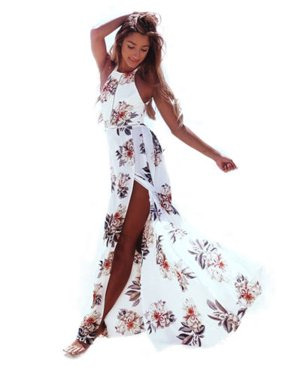 87716edd01 Women Boho Floral Split Long Maxi Dress Evening Party Halter Neck Beach  Sundress