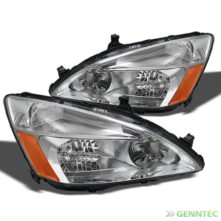 For 2003-2007 Honda Accord 2/4dr Chrome Headlights Front Lamps Replacement Pair Left+Right  2004 2005 (97 Honda Accord Right Headlight)