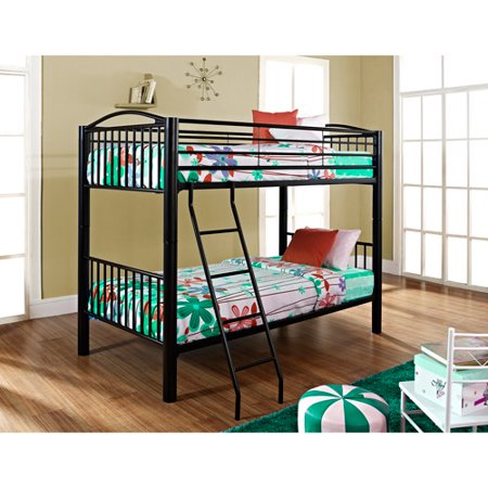 Powell Furniture Twin Over Twin Metal Bunk Bed, Black