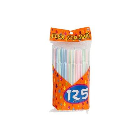 125 Flex Straws, Stripe, Assorted Colors