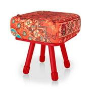 Krukski Stool in Persian Red with Red Tablitski Cushion