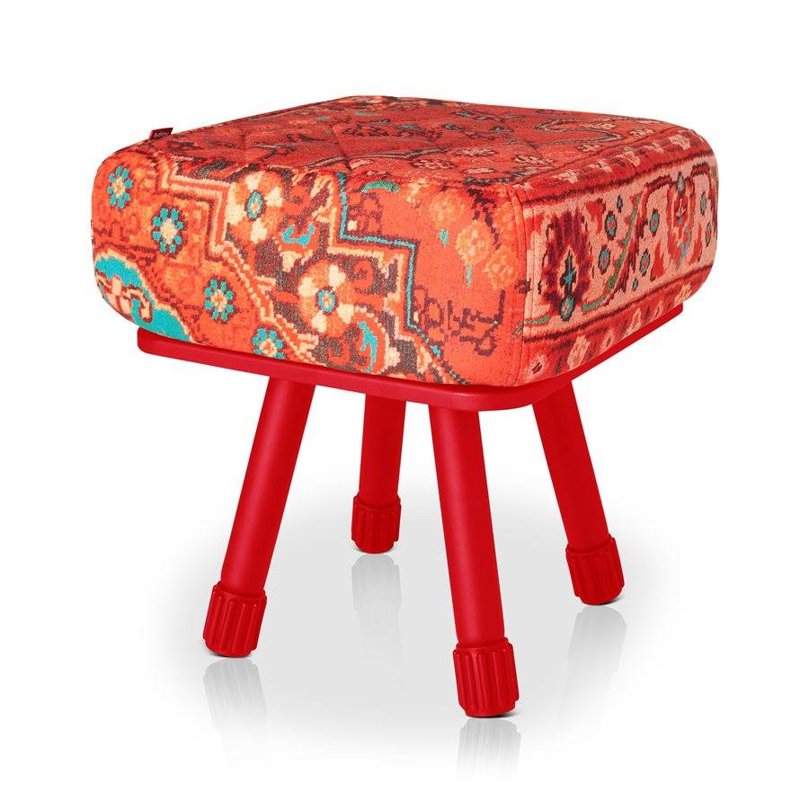 Krukski Stool in Persian Red with Red Tablitski Cushion