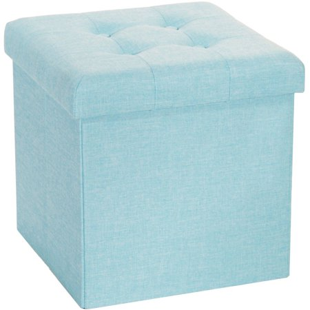 Fabulous Seville Classics Foldable Tufted Storage Cube Ottoman Aqua Machost Co Dining Chair Design Ideas Machostcouk