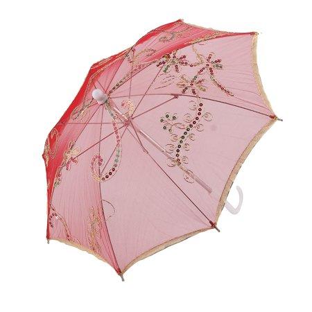 Unique Bargains Party Dancing Lace Floral Pattern Sequin Decor Handle Foldable Umbrella Red