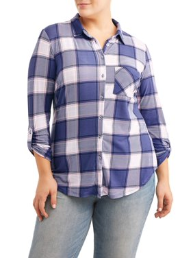 bc8bd472751dd Product Image Plus Size Knotted Button Front Shirt