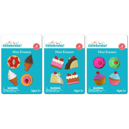 (4 Pack) Fun Celebration Mini Erasers, Assorted Colors and Shapes, 4-Count