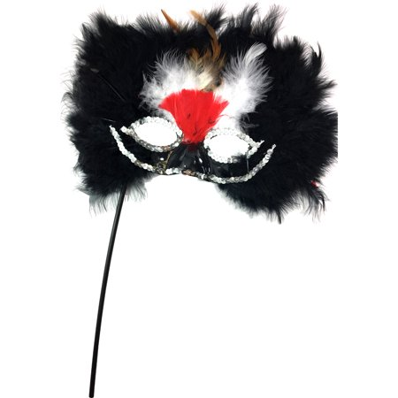 Black And Red Feathered Bird Masquerade Mask Costume Accessory (Red And Black Masquerade Mask)