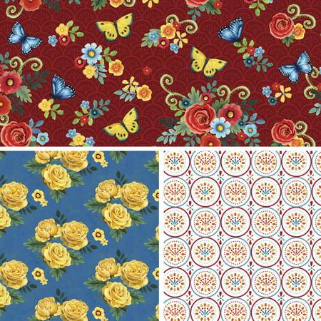 "David Textiles Cotton 36"" x 44"" Folk Floral Charm Collection Pre-Cut Fabric, 1 Each"