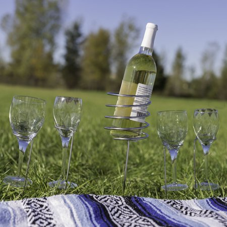 Sunnydaze Stainless Steel Outdoor Wine Bottle and 4 Stemware Holders Set, Picnic Height