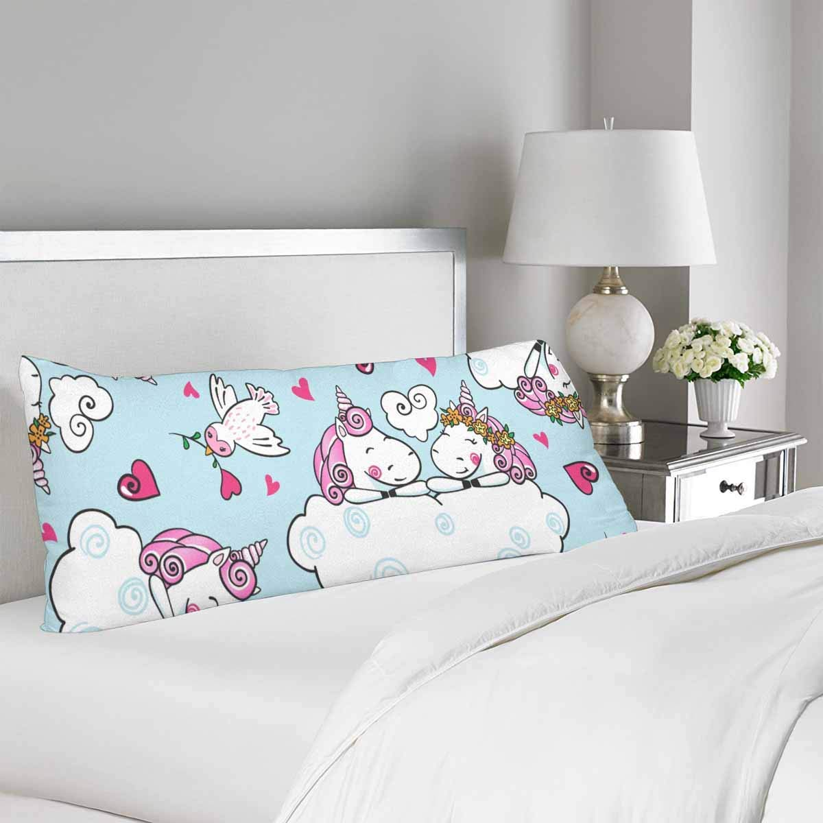 GCKG Cute Unicorn Falling in Love Heart Cartoon Style Pillow Covers Pillowcase 20x60 inches, Body Pillow Case Protector - image 1 de 2
