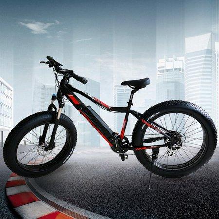 black red mountain bike li ion battery electric bike snow. Black Bedroom Furniture Sets. Home Design Ideas