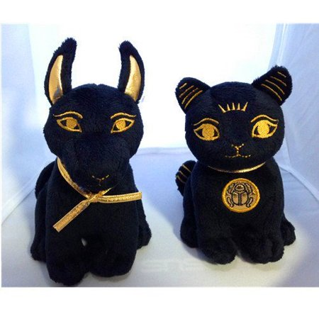 Bundle Deal. Egyptian Plush Black and Gold Bastet Cat & Anubis Stuffed Animal. So Cute!, Brand New! Adorable, Soft and Cuddly Egyptian Plush! By Bundle of Joy