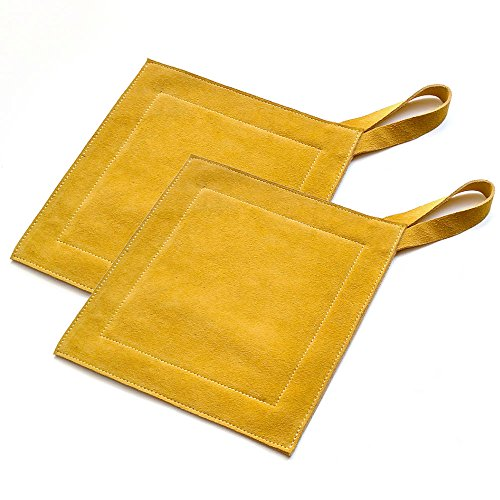 All Purpose Leather Suede Hot Pads For Use As Trivet, Hotpad, and Pot Holder. Mustard Yellow, Set of 2