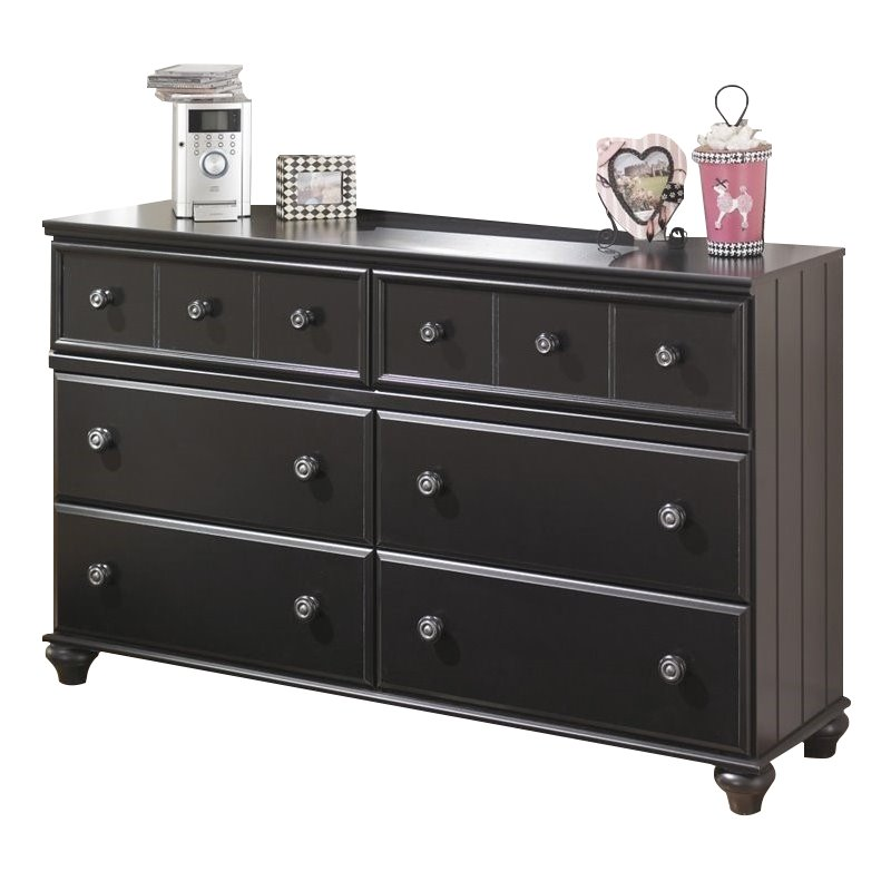 Ashley Jaidyn 6 Drawer Wood Double Dresser in Black by Ashley Furniture