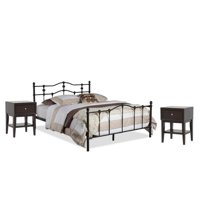 3 Piece Bedroom Set with Queen Spindle Bed and Set of 2 Nightstand in Brown