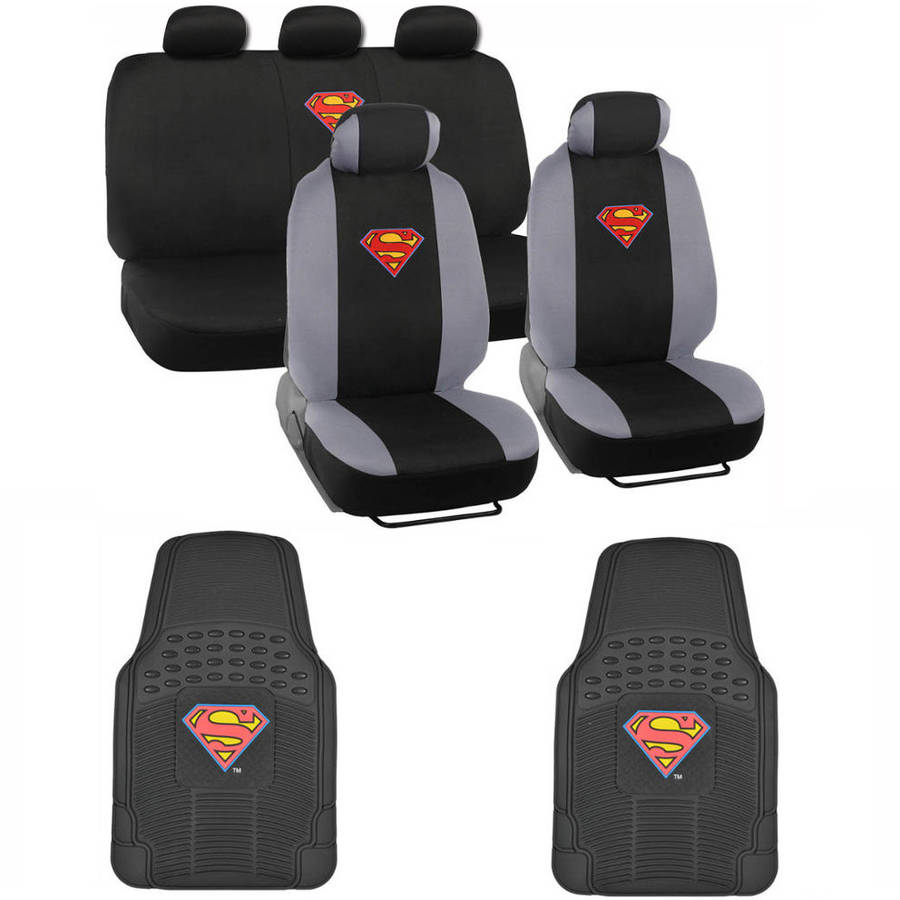 BDK Superman Car Seat Covers with Rubber Floor Mats, Trimmable