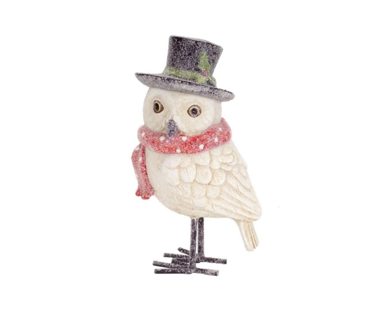 8 frosted white owl with red scarf and top hat christmas decoration