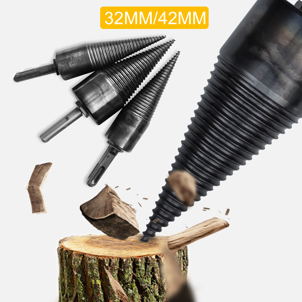 Firewood Splitter Wood Screw Cone Kindling Log  Axe Saw Drill Bit Cutting Stick