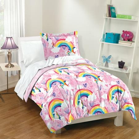 Dream Factory Pink Unicorn Rainbow Kids Comforter and Sham