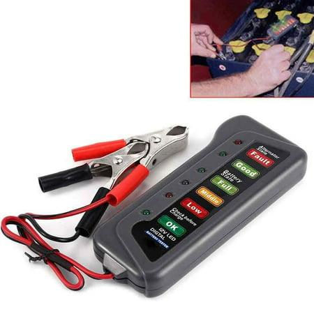 12V 6 LED Digital Analyze Alternator Battery Load Tester for Motorcycle Car - image 1 of 3