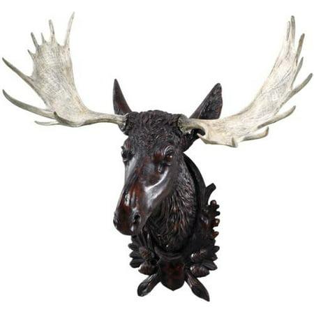 Wall Mount Moose Head Oak Leaves Acorns Hand Painted USA Made OK Casting Hand Painted Moose