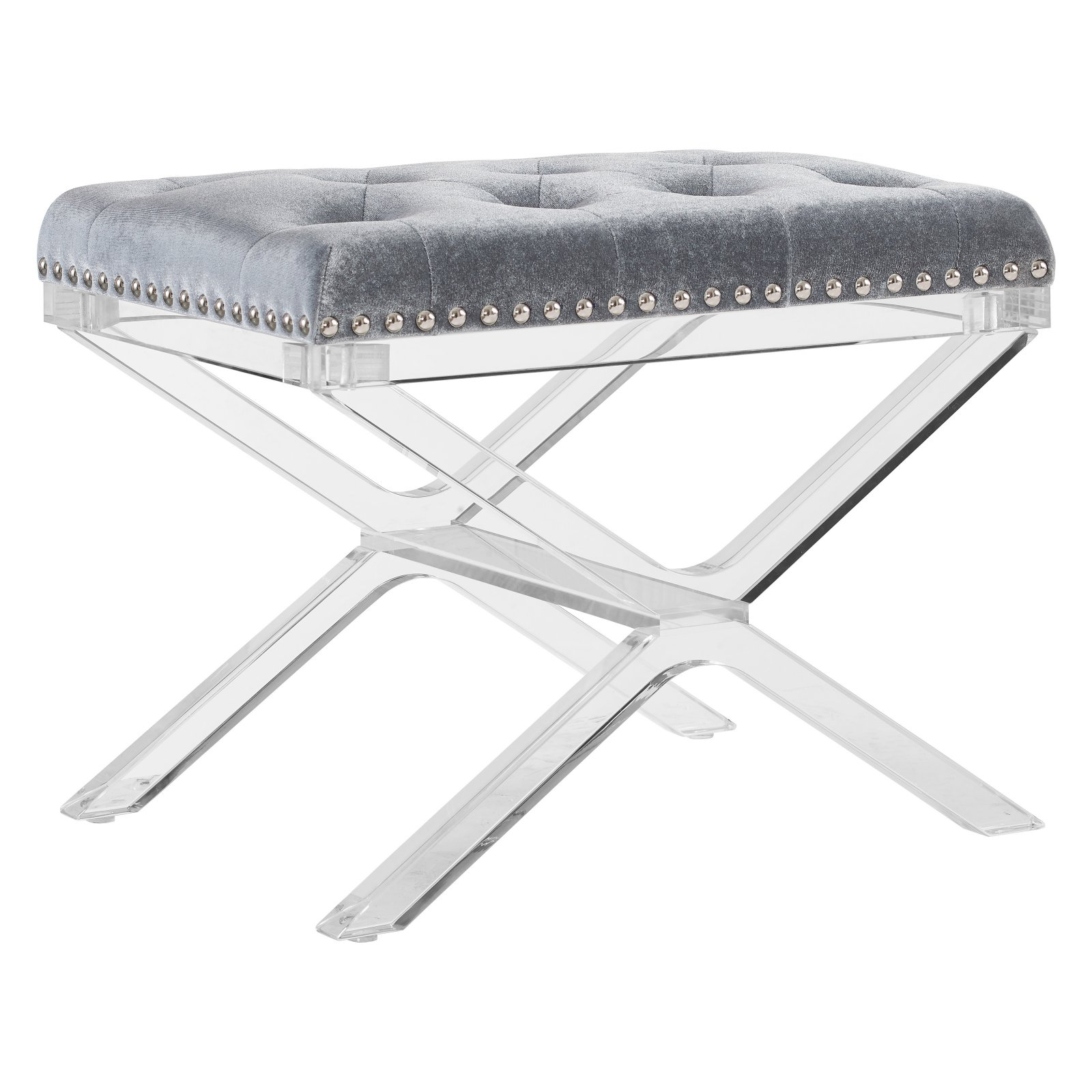 Linon Kelsi X Base Vanity Bench, Silver, Clear Legs, 18 inches Tall by Linon
