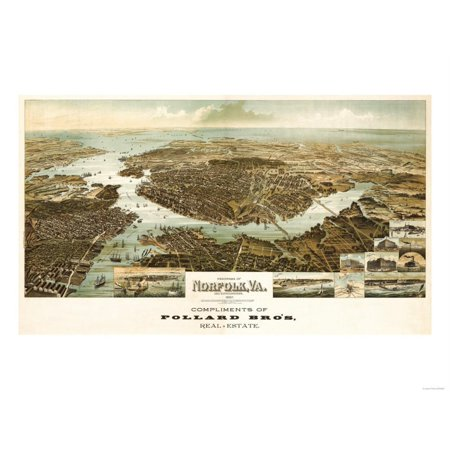 Norfolk, Virginia - Panoramic Map Print Wall Art By Lantern Press - Norfolk Vertical Wall