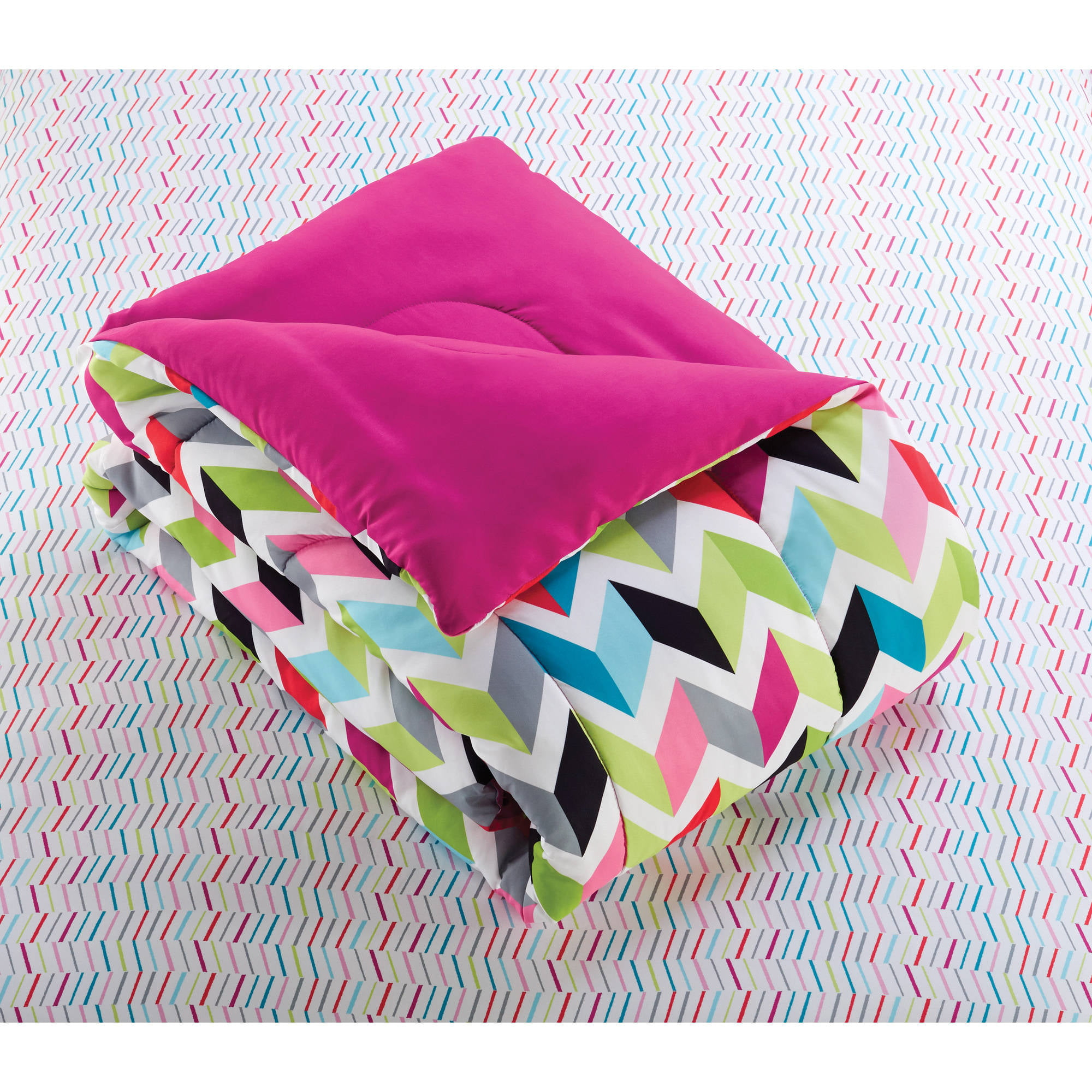 Your Zone Bright Chevron Bed in a Bag Bedding Set Walmart