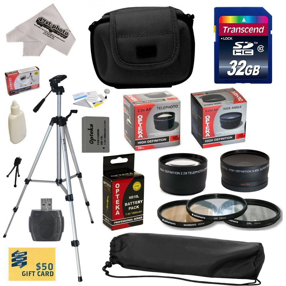 Ultimate Kit for Canon PowerShot SX50 HS SX50HS with 32GB SDHC Card, NB-10L Battery Pack, 67MM 0.43x Lens,... by Opteka