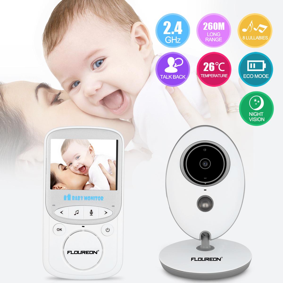 "Video Baby Monitor with LCD Display, FLOUREON Wireless Digital Camera, 2.4"" Infrared Night Vision, Two Way Talk Back, Temperature Monitoring, Lullabies, Long Range and High Capacity Battery"