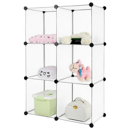 langria 6 cube interlocking modular open storage organizer shelving system closet wardrobe rack. Black Bedroom Furniture Sets. Home Design Ideas