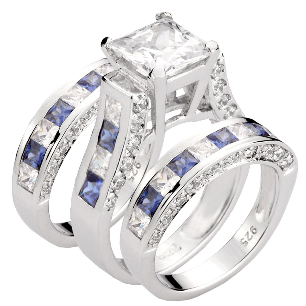 4.8CT Princess Cut CZ Sterling Silver Blue Cubic Zirconia Three Bridal Ring Set